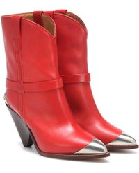 Isabel Marant Bottines Lamsy en cuir - Rouge