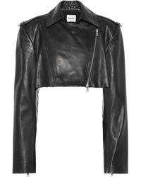 Khaite Perfecto Eduarda raccourci en cuir - Noir