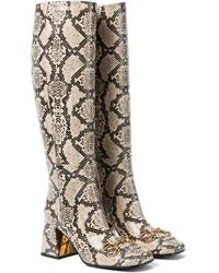 Gucci Horsebit Leather Knee-high Boots - Natural