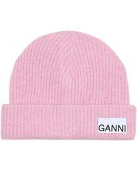 Ganni Gorro en mezcla de lana - Rosa