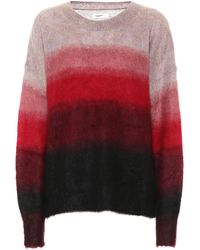 Étoile Isabel Marant Drussell Striped Mohair And Wool-blend Jumper - Red