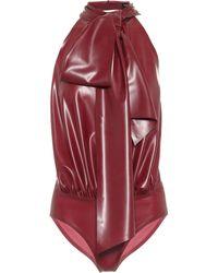 Saint Laurent Body de látex - Rojo