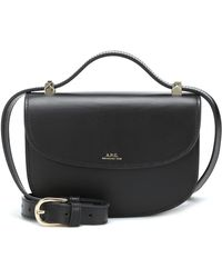 A.P.C. Genève Mini Leather Shoulder Bag - Black