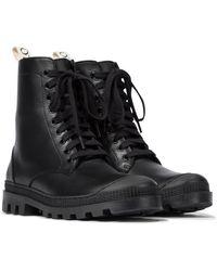 Loewe Leather Combat Boots - Black