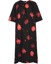 Marni Robe midi imprimée en coton - Noir