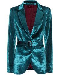 Sies Marjan Terry Belted Velvet Blazer - Green