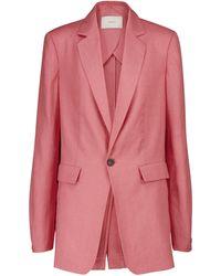 Asceno Azores Linen Blazer - Pink