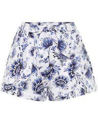 Alexandra Miro Exclusivité Mytheresa – Short en coton à fleurs - Bleu