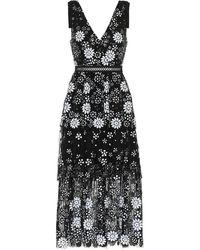 Self-Portrait Floral-sequinned V-neck Tiered Dress - Black