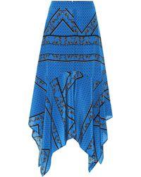 Ganni Falda de seda estampada asimétrica - Azul