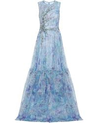 Costarellos Tamistine Embroidered Tulle Gown - Blue