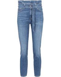 7 For All Mankind Jean skinny paper bag à taille haute - Bleu
