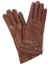Gucci Horsebit Leather Gloves - Brown