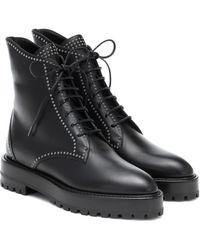 Alaïa Lace-up Leather Ankle Boots - Black