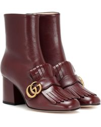Gucci Marmont Leather Ankle Boots - Multicolor