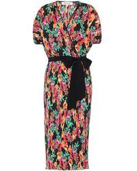 Diane von Furstenberg Abito plissé Autumn a stampa floreale - Multicolore