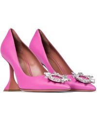 AMINA MUADDI Begum Embellished Leather Court Shoes - Pink