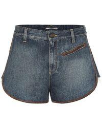 Saint Laurent Shorts di jeans con pelle - Blu