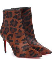 Christian Louboutin So Katy 85 Leopard Ankle Boots - Black