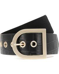 Max Mara Croc-effect Leather Belt - Black