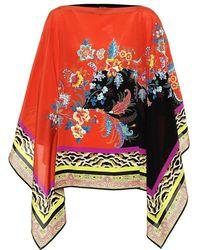 Etro Poncho a stampa in seta - Multicolore