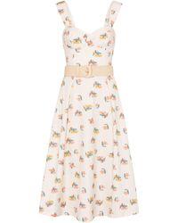 Rebecca Vallance Vestido midi Hadi de algodón floral - Blanco