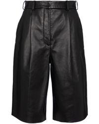 Acne Studios Leather Bermuda Shorts - Black
