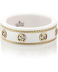 Gucci Ring Icon aus 18kt Gelbgold und weißem Zirkon
