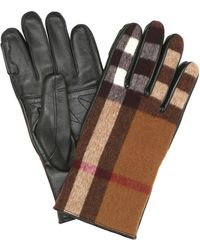 Burberry Handschuhe Vintage Check mit Leder - Braun