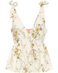 Brock Collection Ribes Floral Cotton-poplin Top - Natural