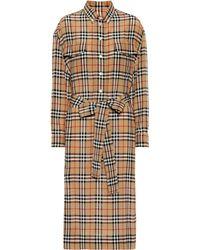 Burberry Robe en soie ceinturée à motif House check - Neutre