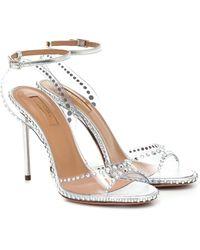 Aquazzura Dream 105 Embellished Pvc Sandals - Metallic
