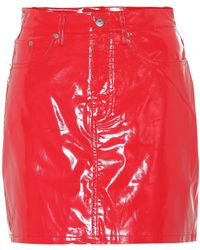 Calvin Klein Faux Patent Leather Miniskirt - Red