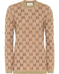Gucci Crystal Gg Logo Sweater - Natural
