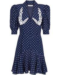 Alessandra Rich Vestido corto de lunares - Azul