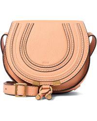 Chloé Schultertasche Marcie Mini aus Leder - Pink