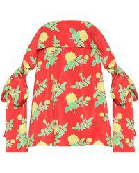 BERNADETTE Holly Off-shoulder Floral Satin Minidress - Red