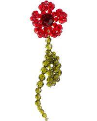 Simone Rocha Single Crystal Earring - Red
