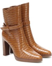 Max Mara Adee Croc-effect Leather Ankle Boots - Brown