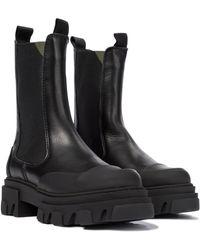 Ganni Exklusiv bei Mytheresa – Chelsea Boots aus Leder - Schwarz