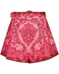 Zimmermann Nina Printed Linen Shorts - Pink