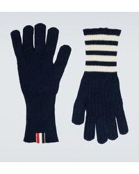 Thom Browne Handschuhe aus Kaschmir - Blau