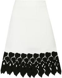 David Koma - Lace-trimmed Cady Skirt - Lyst