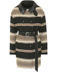 Isabel Marant Hilda Striped Coat - Black