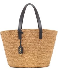 Saint Laurent Panier Medium Raffia Tote - Natural