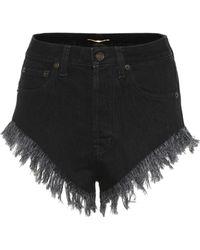 Saint Laurent High-rise Denim Shorts - Black