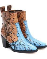 Ganni Botines estilo western - Azul