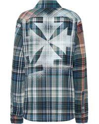 Off-White c/o Virgil Abloh Kariertes Hemd aus Flanell - Blau