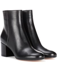 Gianvito Rossi Margaux Leather Ankle Boots - Black