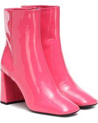 Prada Ankle Boots aus Lackleder - Pink
